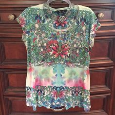tattoo style green top size Large Gorgeous Bleu Tops Blouses