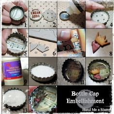 Bottle Cap Embellishment tutorial Bottle Cap Art, Diy Bottle, Bottle Cap Crafts, Bottle Cap Images, Clothespin Magnets, Jar Lids, Girls Jewelry, Aluminum Can Crafts, Aluminum Cans