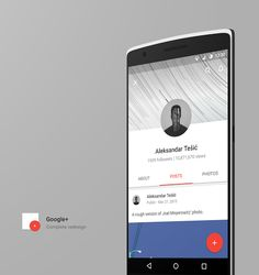 Google+ complete redesign – Mobile app by Aleksandar Tešić