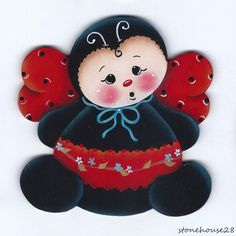 HP LADYBUG FRIDGE MAGNET #Handpainted Lady Bugs, Wood Crafts, Gingerbread, Cute Pictures, Elf, Hello Kitty, Minnie Mouse, Insects, Magnets