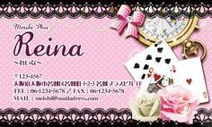 不思議の国のアリス名刺(ピンク、レース柄、トランプ、バラ、懐中時計)