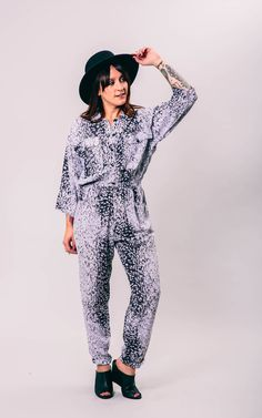 vintage snow leopard jumpsuit | small | the halen jumper by GoldstruckGoods on Etsy