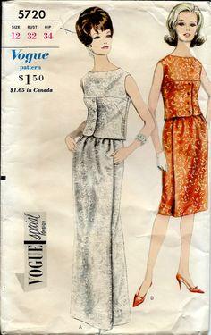60's Vogue Special Design No. 5720 :  Two Piece Evening door cornehl