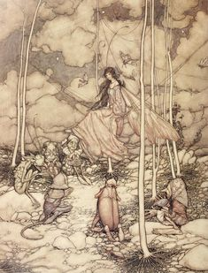"Arthur Rackham ""Arthur Rackham is widely regarded as one of the leading illustrators from the 'Golden Age' of British book illustration which encompassed the years from 1900 until the start of the. Arthur Rackham, Psychedelic Art, Harry Clarke, Kay Nielsen, Edmund Dulac, William Blake, Fairytale Art, Art Graphique, Fairy Art"