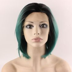 Short Straight Bob Wig green Lace Front Synthetic Hair Celebrity Stylish Green Bob Wig Ombre Costume Party Wig Natural