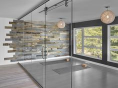 Get creative with your Stikwood! We love this Yoga studio's neat design with our reclaimed weathered wood.