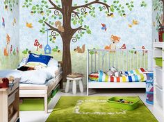 Squirrel Family Wallpaper Animal Nuts Birds Fox Mushroom Tree Wall Mural Nursery Baby Kids Wall Decal Art Blue Green Nursery Wall Art