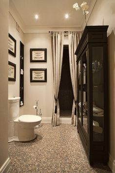 thinking of hiding my closet door behind curtains. something to make the bathroom feel more lush.