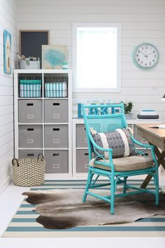 An office in the garage. Create the perfect home office in a small space with plenty of storage. Better Homes & Gardens at Walmart storage ideas and Craft Storage Ideas For Small Spaces, Small Space Storage, Creative Storage, Cube Storage, Diy Organisation, Small Home Offices, Small Office, Office Spaces, Home Office Storage