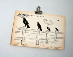 vintage paper shooting target  crows on fence by LegalMissSunshine, $10.00