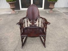 Antique and Vintage Furniture For Sale - Dolphin Carved Mahogany Rocking Chair Victorian Style Furniture, Vintage Furniture For Sale, Shabby Chic Furniture, Furniture Decor, Old Rocking Chairs, Vintage Rocking Chair, Antique Chairs, Antique Lamps, Grand Homes
