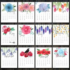 2017 Printable Floral Calendar | Desk Calendar 2017 | Flower Calendar | Floral Watercolor Wall Calendar | INSTANT DOWNLOAD 300DPI PDF