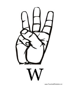 Sign Language with W Sign Language Letters, Deaf Culture, Letter W, Flashcard, American Sign Language, Writing Skills, Free Printables, Diagram, Branding