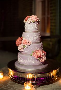 Brides: Four-Tiered Lavender Cake with Flowers