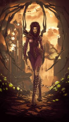 Updated with more details and better finishes like mood, colors, volumes, etc. Sarah Kerrigan - Queen Of Blades Sarah Kerrigan, Gothic Fantasy Art, Fantasy Women, Dark Fantasy, Fantasy Girl, Kerrigan Starcraft, Starcraft Zerg, Magic Realms, Heroes Of The Storm