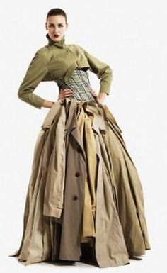Dress made of trench coats - head to Vinnies today to find great pieces and get crafty!
