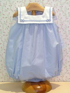 I love blue and white on little babes! Sewing For Kids, Baby Sewing, Baby Girl Fashion, Kids Fashion, Little Girl Dresses, Girls Dresses, Baby Boy Outfits, Kids Outfits, Couture Bb
