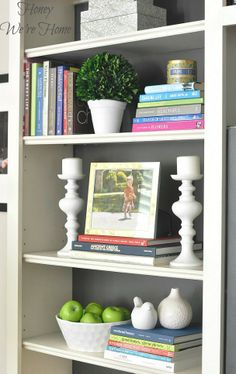 spray paint birds/decorative vases white /candle sticks /Honey Were Home: Painted Media Cabinet & Bookshelf Styling - Diy Interior Design Mantel Styling, Bookshelf Styling, Decorating Bookshelves, Rustic Bookshelf, Bookshelf Ideas, Bookshelf Design, Media Cabinet, Home And Deco, Vases Decor