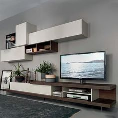 Sangiacomo Lampo L5C52: wall-mounted storage and TV-Stand base with drawers in heat-treated oak, matte finished containers. Free Shipping. No Tax. Call today!