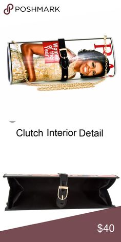 """Michelle Obama Magazine Clutch Magazine style clutch with an added chain to convert as a shoulder strap purse. 12"""" x 4-1/2"""". This is a collectors item for sure. Only a few left in stock. PRICE IS FIRM. Bags Clutches & Wristlets"""