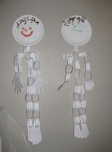 Make a skeleton out of paper plates and paper link chains!