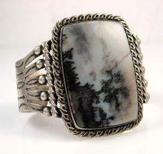 Large Old Pawn Navajo Hand Stamped Coin Silver & Petrified Wood Cuff Bracelet J