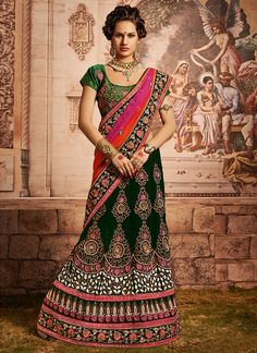 Green, Pink & Orange Net, Velvet Rich Bridal Lehenga Saree Comes With A Contrast Green Blouse Lehenga Style Saree, Bollywood Lehenga, Lehenga Choli Online, Bridal Lehenga, Saree Wedding, Wedding Wear, Wedding Dresses, Orange Lehenga, Pink Lehenga