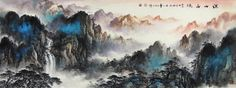 Rolling Hills Landscape Abstract art Chinese Ink Brush Painting, 178cm×70cm Chinese wall scroll painting Freehand brush work Artist original works of handwriting Rice paper Traditional art painting. USD $ 1279.00