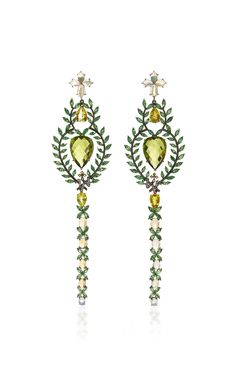 18K Black Rhodium Gold Earrings with Diamonds, Sapphires, Tsavorites, Peridots, Opals, and Green Tourmaline by LYDIA COURTEILLE for Preorder on Moda Operandi