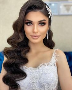 Quince Hairstyles, Headband Hairstyles, Down Hairstyles, Cute Hairstyles, Bride Hairstyles For Long Hair, Wedding Hairstyles With Crown, Bride Makeup, Wedding Hair And Makeup, Hair Makeup