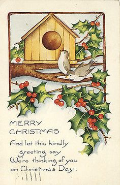 VINTAGE POSTCARD CHRISTMAS HOLLY LEAVES BERRIES BIRDS 1923