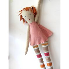 Rona--Sweet doll-Toy-Children-Soft Toy-Recycled-Child friendly-pink--Chrsitmas gift--under 55 USD ($48) found on Polyvore