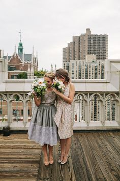 NYC Central Park Restaurant Wedding | A Practical Wedding (46) The gray dress is her mom's vintage wedding dress, Geoffrey Beene design. Love it!
