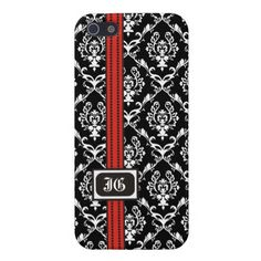 Black white damask with red band and monogram iphone 5 case.  See more designs here http://www.zazzle.com/iphone_ipad_case?rf=238228936251904937=zBookmarklet