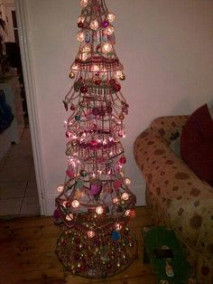 Recycled lampshades christmas tree