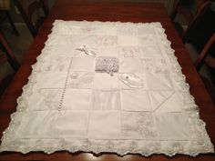 Quilt Made From My Wedding Dress Wedding Dress Crafts inside What To Do With Old Wedding Dresses - Wedding Party Ideas Wedding Dress Quilt, Old Wedding Dresses, Wedding Dress Crafts, Bridesmaid Dresses, Wedding Quilts, Wedding Gowns, Diy Wedding, Wedding Purse, Wedding Ideas