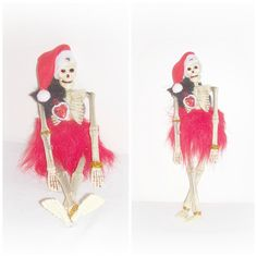 Skeleton Santa Art Doll Day Of The Dead Santa Skull Head Skeleton Doll EerieBeth Skellie Art Doll ICreateAndCollect Etsy Goth Punk Doll by ICreateAndCollect on Etsy