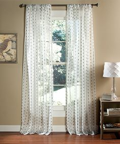Look what I found on #zulily! White & Black Polka Dot Sheer Window Curtain - Set of Two by Lush Décor #zulilyfinds