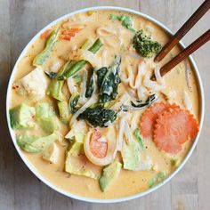 Coconut Curry Noodle Soup- My Favorite Takeout Copycat! Vegan + Gluten-Free - The Colorful Kitchen