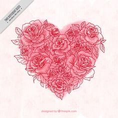Fondo de corazón de acuarela hecho de bocetos de rosa Vector Gratis