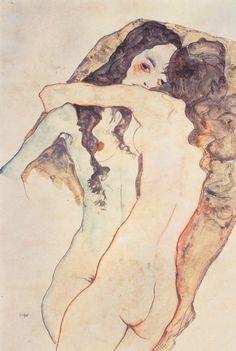 Egon Schiele - Zwei sich umarmende Frauen 1911