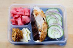 Roast chicken (or rotisserie) + cucumber with red onion + watermelon + pretzel thins + cheese ~ adult lunch #worklunch