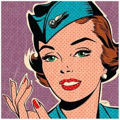 Art Print: Flight attendant turquoise by Bruno Pozzo : 12x12in