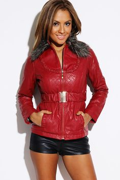 Quilted Ruched Belted Faux Fur Collar Double Layer Zip Faux Leather Jacket
