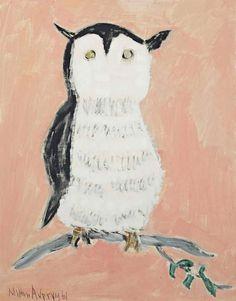 Milton Avery (1885–1965), Yellow Eyed Owl, 1961, oil on canvasboard, 18 x 14 in