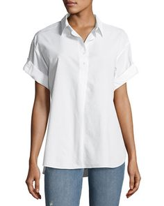 Tuck-In+Roll-Sleeve+Cotton+Shirt,+White+by+MiH+at+Neiman+Marcus.