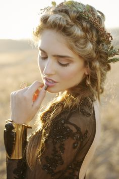 Gothic Bohemian Fall Wedding Inspiration Shoot from WINK! Weddings - wedding hairstyle idea
