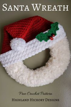 Crochet Santa Wreath PATTERN ONLY circle wreath pattern Christmas decoration decor for home office classroom church etc. Quick Crochet Patterns, Easy Crochet, Crochet Hooks, Free Crochet, Crochet Ideas, Crochet Projects, Crocheting Patterns, Crochet Stars, Free Knitting