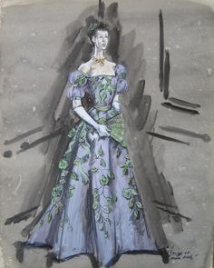"""Bonnie Evans (Original Costume Sketch), """"Hello Dolly,"""" 20th Century Fox, Designed by Irene Sharaff, The Collection of Motion Picture Costume Design: Larry McQueen"""