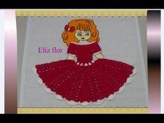 Vestido em crochê para aplicação em boneca no pano de prato 02 - YouTube
